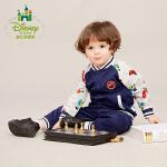 迪士尼 宝宝卫衣运动套装纯棉男童套装棒球服春秋款163T657