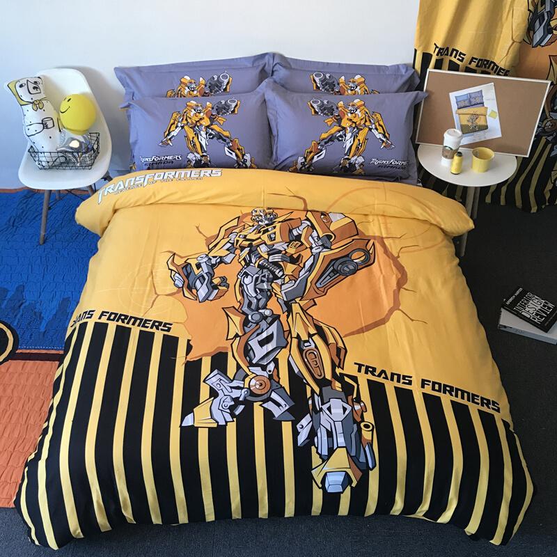 卡通全棉儿童被套床上用品四件套超人男孩大黄蜂纯棉学生三件套上新