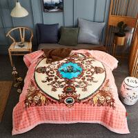???毛毯被子冬季双层加厚云毯珊瑚绒欧式婚庆保暖双人盖毯 200cmX230cm【3D雕花】