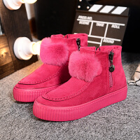 棉鞋女冬季新款绒球拉链短筒雪地靴女鞋二棉鞋女加绒女鞋