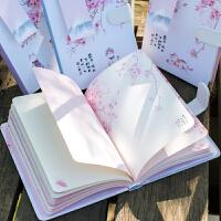 日式樱花彩页手账唯美个性创意日记本清新女生磁扣彩页笔记本