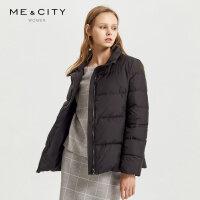 【1件2.5折价:177.3】MECITY女装冬季女时尚立领短款纯色羽绒服