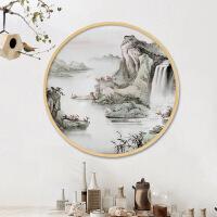 实木相框圆形木质装饰画框创意照片墙中式木框挂墙像框油画框