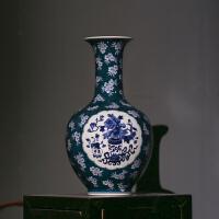 陶瓷花瓶仿古梅花开膛吉祥博古图青花瓷家居摆件