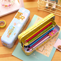 学生文具盒得力95559 卡通铁皮铅笔盒儿童多功能三层巴士汽车笔盒