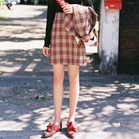 文艺高腰短裙一步裙 复古港味格子半身裙女2018春装新款 预售3月31日左右发