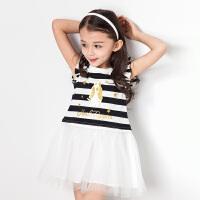 【3件3折:128.7元】暇步士童装女童连衣裙条纹连衣裙儿童裙子