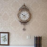 欧式挂钟客厅创意个性静音时尚复古壁钟装饰钟表时钟家庭挂钟 16英寸
