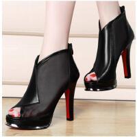 邻家天使春季新品鱼嘴高跟鞋粗跟女鞋休闲女凉鞋防水台网纱单鞋女鞋子NEB-9901