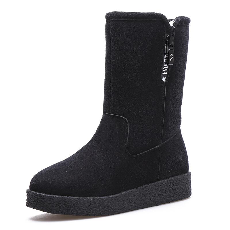 雪地靴女中筒平底加厚学生女短靴百搭冬天加绒保暖棉靴雪地棉