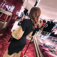 №【2019新款】冬天穿的鱼尾灯笼袖黑色中长款晚礼服裙镂空针织拼接名媛连衣裙女