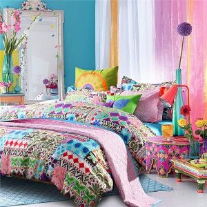 多喜爱MMK家纺 床单四件套民族风全棉斜纹床上用品兰布拉