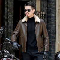 皮衣羽绒服男士可脱卸毛领绵羊皮中年男装短款加厚爸爸装