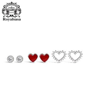 皇家莎莎少女爱心S925银耳环耳钉套装女气质韩国个性网红耳坠耳饰