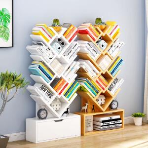 【每满100-50】幽咸家居 简易树形书架落地书柜学生创意置物架子飘窗储物架创意书橱
