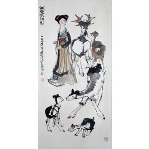 中国海派书画画匠、著名国画家  程十发《友鹿采荷图》