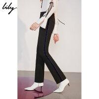 【25折到手价:137.25元】 Lily春新款女装帅气撞色侧条纹黑色直筒裤休闲裤118340C5204