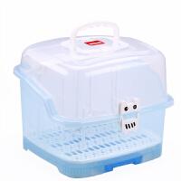 W 婴儿奶瓶收纳箱大号便携式带盖沥水晾干架宝宝奶粉储存盒N11 送五