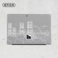 new微软新surface pro5笔记本贴纸pro4平板pro3电脑go背膜book2机身lapt 城市线条-背膜+