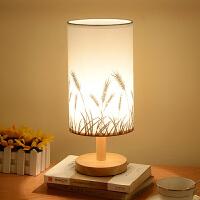 幽咸家居 台灯 卧室床头灯 插电温馨创意实木简约小夜灯 按键开关款