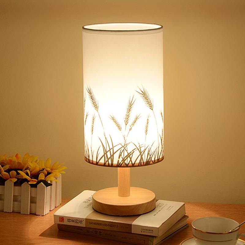 幽咸家居 台灯 卧室床头灯  插电温馨创意实木简约小夜灯 按键开关款默认发米白款