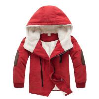 男童棉衣加绒加厚连帽中长款外套儿童中大童男羊羔绒棉袄y292