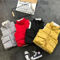 韩国17冬季新品男童女童纯色加厚坎肩背心加厚羽绒棉马甲B8-S28