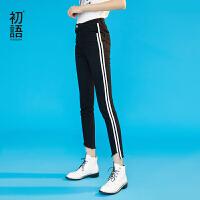 初语黑色牛仔裤女春装新款侧条纹韩版修身小脚九分铅笔裤
