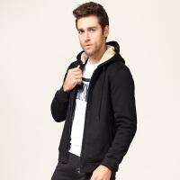古星冬季新款羊羔绒运动外套男士连帽加绒加厚保暖修身开衫卫衣潮