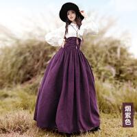 2018春装新款女 修身显瘦束腰宫廷式大摆半身长裙 骑士精神