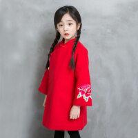 秋冬季女童流苏旗袍裙宝宝唐装刺绣小女孩中国风古装汉服连衣裙子 红色