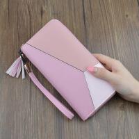 女士手拿包钱包女长款简约撞色拼接拉链大容量钱夹女生手机包s6 粉色