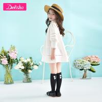 【2折价:11】笛莎秋季新款女童袜子儿童木耳边蝴蝶结中筒袜