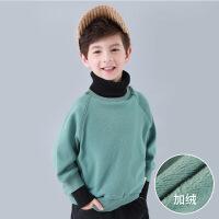 童装男童舒适保暖卫衣秋冬装2018新款中大童高领拼接打底衫