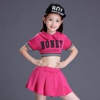 六一儿童节表演服小学生啦啦操演出服健美操啦啦队运动服演出服装2024 玫红上衣加短裙