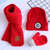 宝宝帽子围巾三件套装秋冬儿童保暖毛线帽男童小女孩韩国套头帽潮 红色 M标帽+红巾+红手套 均码