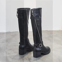 不过膝靴女2018新款秋冬韩版粗跟高跟侧拉链长款骑士高筒靴长筒靴SN2464 黑色单里 黑色单里