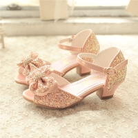 韩版儿童凉鞋舞蹈女童公主鞋粉色水晶高跟凉鞋