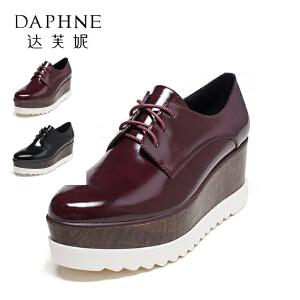 Daphne/达芙妮vivifleurs系列 春秋 复古漆皮女鞋英伦风系带松糕单鞋女