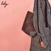 【每满200减100】Lily新款女装纯色简约水桶包OL大容量通勤包117410BZ830