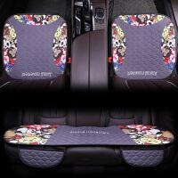 汽车坐垫夏季无靠背三件套四季通用男女透气亚麻冰丝座垫��垫
