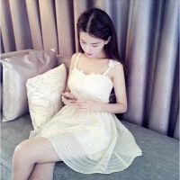 夏季女装韩版修身收腰欧根纱白吊带裙短裙甜美连衣裙无袖性感裙子 白色