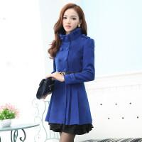 呢子大衣女装秋冬新款韩版修身显瘦蕾丝裙摆毛呢外套中长款潮 S 78斤—93斤