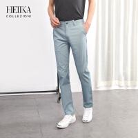 海一家男装夏季新品长裤男士青年微弹透气中腰直筒花商务休闲裤