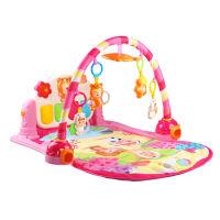 婴儿学步车玩具手推车一岁宝宝玩具多功能音乐可调速迪宝熊钢琴学步车爱心床铃 钢琴音乐架(粉色) 9306