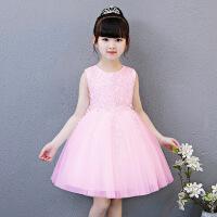 儿童公主裙夏季女童无袖演出连衣裙宝宝白色蓬蓬纱裙子主持花童礼
