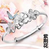 银手镯999银女满天星福字手镯子送妈妈送女友银手环