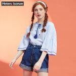 【2件2.5到手价:66.5】美特斯邦威夏新款短袖衬衫女小清新原宿风五分喇叭袖个性潮9