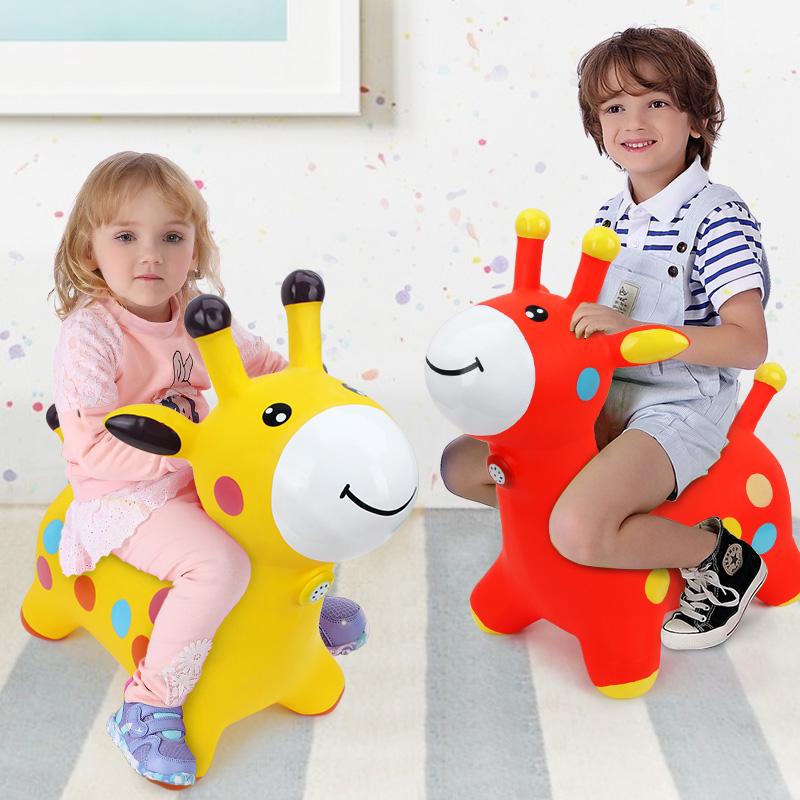 哈哈球 儿童充气玩具音乐跳跳鹿加厚 宝宝健身玩具马充气鹿 送充气泵 跳跳马益智玩具限时钜惠