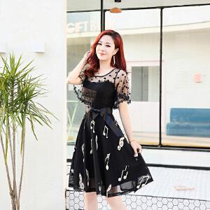 夏季连衣裙女2018新款中长款韩版一字肩春装蕾丝雪纺a字显瘦裙子
